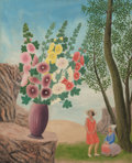 Fine Art - Painting, European:Modern  (1900 1949)  , André Bauchant (French, 1873-1958). A Vase of Flowers in a Landscape with Two Women beneath a Tree, 1928. Oil on canvas...