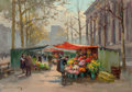 Fine Art - Painting, European:Modern  (1900 1949)  , Edouard-Léon Cortès (French, 1882-1969). Flower Market at LaMadeleine, circa 1950-60. Oil on canvas. 26 x 36 inches (66...
