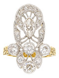 Estate Jewelry:Rings, Late Victorian Diamond, Platinum-Topped Gold Ring. ...