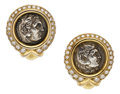 Estate Jewelry:Earrings, Ancient Coin, Diamond, Gold Earrings. ...
