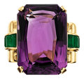 Estate Jewelry:Rings, Amethyst, Emerald, Gold Ring. ...