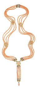 Estate Jewelry:Necklaces, Art Nouveau Coral, Gold Necklace. ...