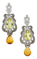 Estate Jewelry:Earrings, Citrine, Colored Diamond, Diamond, White Gold Earrings . ...
