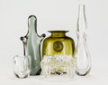 Decorative Arts, Continental:Other , Five Italian Blown Glass Objects. Circa 1960. Ht. 9 in. (tallest).... (Total: 5 Items)