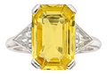 Estate Jewelry:Rings, Yellow Sapphire, Diamond, Platinum Ring. ...