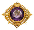 Estate Jewelry:Brooches - Pins, Antique Amethyst, Diamond, Seed Pearl, Gold Brooch. ...