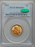 Lincoln Cents: , 1932 1C MS66 Red PCGS. CAC. PCGS Population (461/30). NGC Census: (182/14). Mintage: 9,062,000. Numismedia Wsl. Price for p...