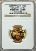 Paraguay: Republic gold Proof 1500 Guaranies 2004 PR70 Ultra Cameo NGC