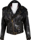 "Movie/TV Memorabilia:Costumes, A Black Leather Motorcycle Jacket from ""The Lords of Flatblush.""..."