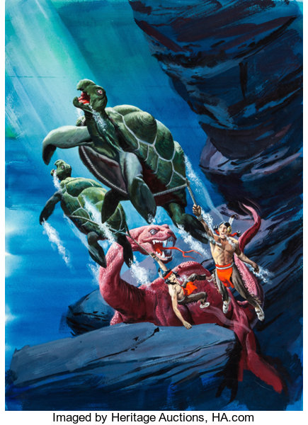George Wilson Turok Son Of Stone 74 Painted Cover Original Art Lot 93560 Heritage Auctions