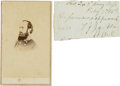 Military & Patriotic:Civil War, Stonewall Jackson: Autographed Document Fragment....