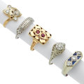 Estate Jewelry:Rings, Antique Diamond, Ruby, Sapphire, Gold Rings. ... (Total: 5 Items)