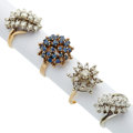 Estate Jewelry:Rings, Diamond, Sapphire, Gold, White Gold Rings. ... (Total: 4 Items)