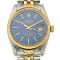 Timepieces:Wristwatch, Rolex Ref. 1600 Gent's Two Tone Oyster Perpetual Datejust, Blue Dial, circa 1978. ...