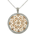 Estate Jewelry:Necklaces, Diamond, White Gold, Pink Gold Pendant-Necklace. ...