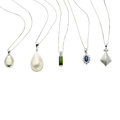 Estate Jewelry:Necklaces, Multi-Stone, Diamond, White Gold Pendant-Necklaces. ... (Total: 5Items)