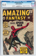 Silver Age (1956-1969):Superhero, Amazing Fantasy #15 (Marvel, 1962) CGC VG 4.0 Cream to off-whitepages....