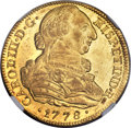 Colombia, Colombia: Charles III gold 8 Escudos 1778 P-SF MS62 NGC,...