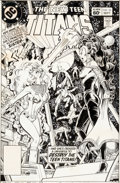 Original Comic Art:Covers, George Perez and Dick Giordano New Teen Titans #23 CoverOriginal Art (DC, 1982)....