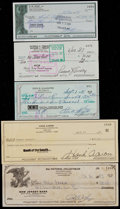 Baseball Collectibles:Others, Baseball Greats Signed Checks Lot of 5....