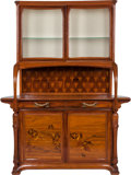 Furniture : French, Louis Majorelle Marquetry Sideboard with Glazed Display. Circa1900. Engraved L. Majorelle, Nancy. 89 x 66-1/2 x 22 in....(Total: 2 Items)