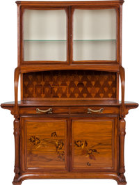 Louis Majorelle Marquetry Sideboard with Glazed Display Circa 1900. Engraved L. Majorelle, Nancy 89