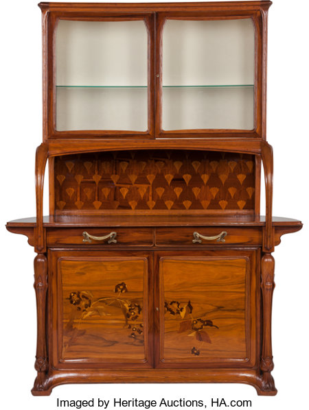 Louis Majorelle Marquetry Sideboard with Glazed Display Circa 1900. Engraved L. Majorelle, Nancy 89 x 66-1/2 x 22 in.... (Total: 2 Items)