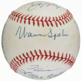 Autographs:Bats, 300 Game Winners Multi Signed Baseball (10 Signatures)....