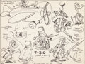animation art:Model Sheet, Gandy Goose WWII Propaganda Short Animator's Model Sheet(Terrytoons, 1941)....