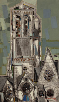 Claude Venard (French, 1913-1999) Eglise Brettone, 1954 Oil and mixed media on canvas 76 x 44 inc