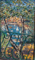 Paintings, Michele Cascella (Italian, 1892-1989). Fenêtre à Portofino, 1957. Oil on canvas. 59 x 36 inches (149.9 x 91.4 cm). Signe...