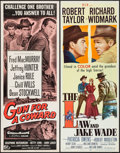 """Movie Posters:Western, The Law and Jake Wade & Other Lot (MGM, 1958). Inserts (2) (14""""X 36""""). Western.. ... (Total: 2 Items)"""