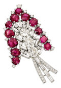 Estate Jewelry:Brooches - Pins, Burma Ruby, Diamond, Platinum Brooch. ...