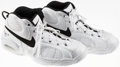 Basketball Collectibles:Others, Luc Longley Game Worn, Signed Chicago Bulls Shoes....