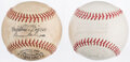 Baseball Collectibles:Uniforms, OAL Cronin and ONL Giles Unsigned Baseballs (2)....
