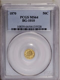 California Fractional Gold: , 1870 50C Liberty Round 50 Cents, BG-1010, R.3, MS64 PCGS. PCGSPopulation (40/18). NGC Census: (4/1). (#10839)...