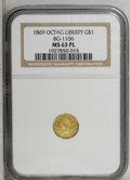 California Fractional Gold: , 1869 $1 Liberty Octagonal 1 Dollar, BG-1106, High R.4, MS63 NGC.PCGS Population (9/2). (#10917)...