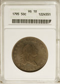 Early Half Dollars: , 1795 50C 2 Leaves VG10 ANACS. O-108, R.4. Warm gold-gray andblue-gray surfaces distinguish this heavily worn but appealing...
