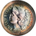 1881 3CN PR68 ★ NGC. The 8s in the date are each recut within their loops. An outstanding three cent nickel that would b...