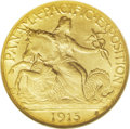Commemorative Gold: , 1915-S $2 1/2 Panama-Pacific Quarter Eagle MS65 NGC. Themythological-allegorical obverse design was one of CharlesBarber'...