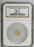 California Fractional Gold: , Undated 25C Liberty Round 25 Cents, BG-224, R.3, MS62 NGC. PCGSPopulation (61/85). (#10409)...