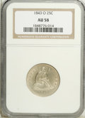 Seated Quarters: , 1843-O 25C AU58 NGC. Pleasing silver-gray surfaces are relativelyclean and retain ample luster. Nice definition is noted i...