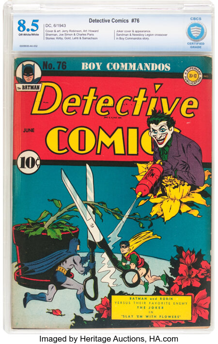 Detective Comics #76 (DC, 1943) CBCS VF+ 8.5 Off-white to white pages....