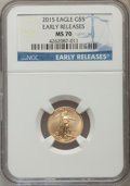 Modern Bullion Coins, 2015 $5 Tenth-Ounce Gold Eagle, Early Releases, MS70 NGC. NGC Census: (0). PCGS Population (2730)....