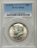 Kennedy Half Dollars, 1970-D 50C MS65 PCGS. PCGS Population (3218/500). NGC Census:(1324/142). Mintage: 2,150,000. Numismedia Wsl. Price for pro...
