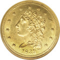 Classic Quarter Eagles: , 1839-D $2 1/2 MS64 NGC. Variety 1-A, McCloskey-A, R.3. This is themore common of the two varieties for this year, and it i...