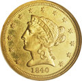 Liberty Quarter Eagles: , 1840-D $2 1/2 MS62 NGC. Variety 1-A. Struck from a perfect reversedie without cracks, and extremely rare as such. This is ...