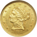 Liberty Quarter Eagles: , 1842-D $2 1/2 MS62 NGC. Variety 3-F. The only variety known for theyear. Repunched 18 in the date; somewhat later die stat...