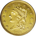 Classic Quarter Eagles: , 1836 $2 1/2 Script 8 MS64 PCGS. McCloskey-D, Head of 1835, Breen-6143, R.2. This lustrous canary-gold near-Gem is well pres...