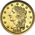 Classic Quarter Eagles: , 1838-C $2 1/2 --Ex-Jewelry--ANACS. AU50 Details. Variety 1-A, the only known dies. The glossy green-gold surfaces are well d...